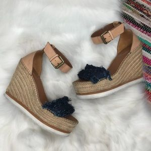 See by Chloe Glyn Raw Denim Espadrille Wedge 38